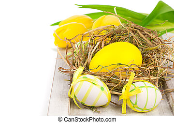 Easter eggs, on a white background