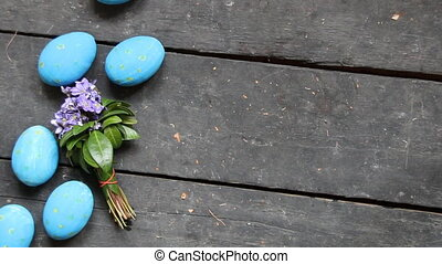 Easter eggs on a wood retro background