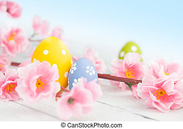 Easter eggs on a wooden table