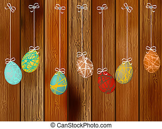 Easter eggs on a wooden wall.  + EPS8