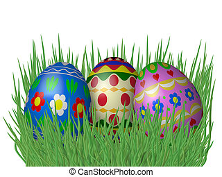 Easter Eggs On Grass Isolated White Background
