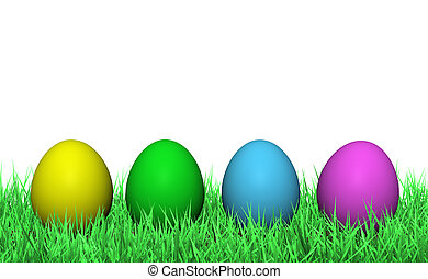 Easter Eggs On Green Grass - Four colorful easter eggs on...