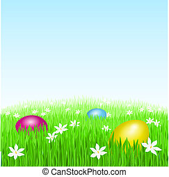 Easter eggs on green grass and white flowers