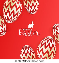Easter eggs on red background