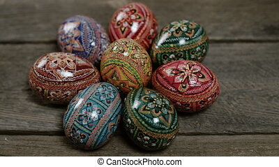 Easter eggs on solid background. Colorful Easter eggs form a...