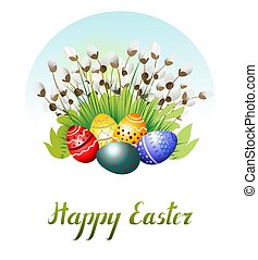 Easter eggs on the grass and pussy-willow. Vector illustration.