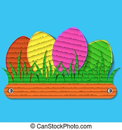 Easter eggs on the grass in paper style