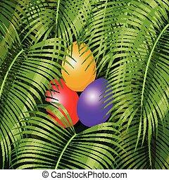 Easter eggs on the green - Easter eggs on the green rain...