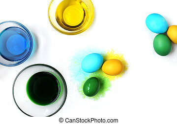 Easter eggs on white background. Spring holiday.