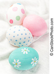 Easter eggs on white background  with copyspace. Happy Easter!