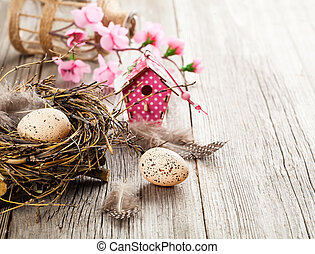 easter eggs on white wooden background