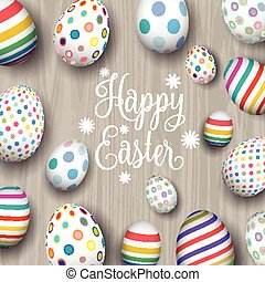 easter eggs on wood background 1103