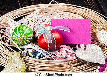 Easter eggs on wood desk