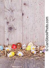 Easter eggs on wood