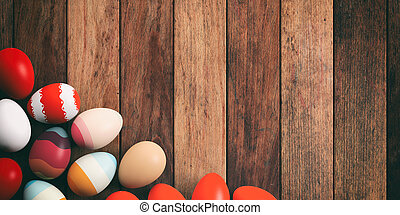 Easter eggs on wooden background. 3d illustration