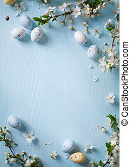 Easter eggs on wooden background - Easter eggs and spring ...