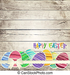 Easter eggs on wooden background vector