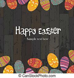 Easter eggs on wooden planks background. Vector, EPS10