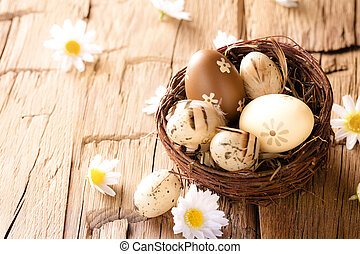 Easter eggs on wooden surface