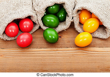 Easter eggs on wooden table