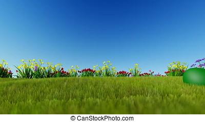 Easter eggs ongreen meadow over blue sky, panning, Luma...