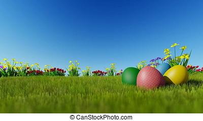 Easter eggs ongreen meadow over blue sky, Luma Matte...