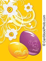 Easter eggs. Ornamental background