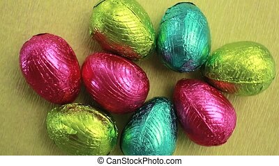 Easter eggs packed in red blue and green