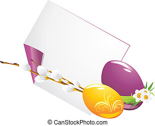Easter eggs and curled page with willow branch. Vector illustration