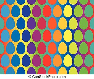Easter Eggs Rainbow Gradient Seamle