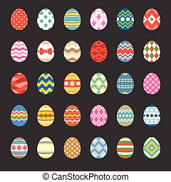 easter eggs set 1, flat design