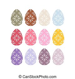Easter eggs set. Easter eggs on white background. Eggs isolated. Festive traditional eggs for Easter