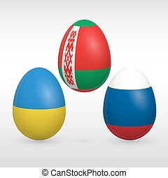 Easter eggs set flags colors - Easter eggs set with Eastern...