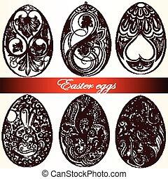 Easter eggs set from swirls