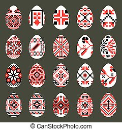 Easter Eggs Set in traditional ukrainian style