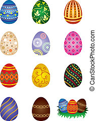 Easter eggs - Set of colored painted easter eggs