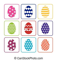 Easter eggs set on a white background