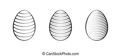 easter eggs set simple black icons on white background