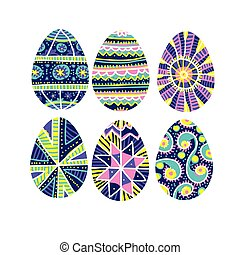 Easter eggs set with hand-drawn traditional decor
