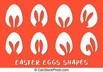 Easter eggs shapes with bunny ears silhouette - set
