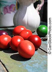 Easter eggs still life