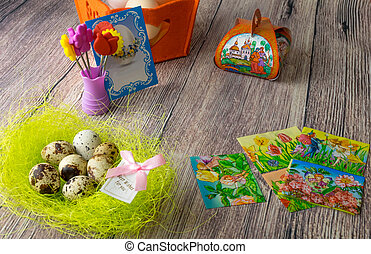 Easter eggs table decoration with pictures and stickers iron-on transfers for eggs