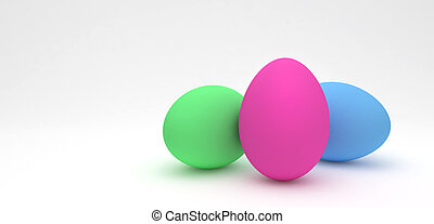Easter eggs, trendy design concept, 3d illustration
