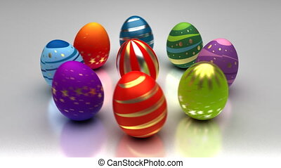 Easter Eggs Turning Around