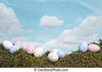 Easter eggs under blue sky