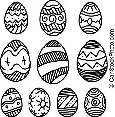 Easter eggs vector collection isolated on white