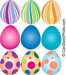Easter Eggs - Vector Illustration of 9 decorated easter...