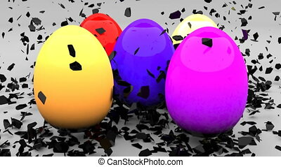 Easter eggs with black shells explode and form colored eggs 4k