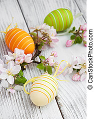 Easter eggs with blossom