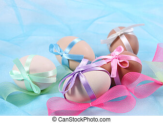 Easter eggs with bow